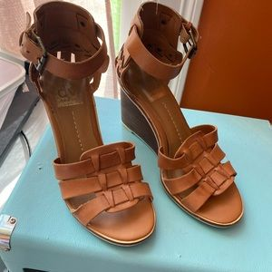 British tan wedge sandals